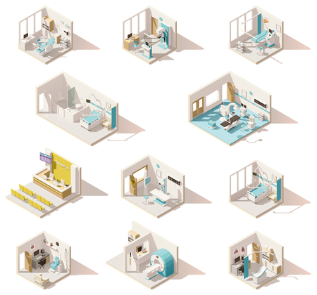 Illustration for Vector isometric low poly hospital rooms - Royalty Free Image