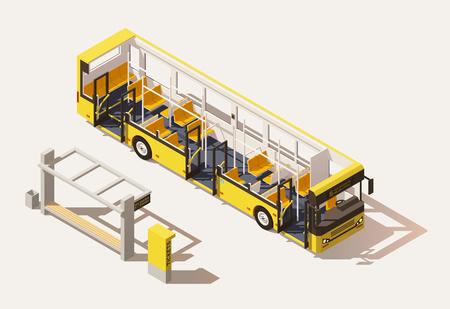 Illustration pour Vector isometric low poly bus cross-section - image libre de droit