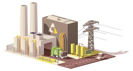Ilustración de Vector low poly waste-to-energy plant - Imagen libre de derechos