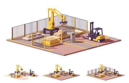 Illustration pour Vector low poly robotic palletizing cell - image libre de droit