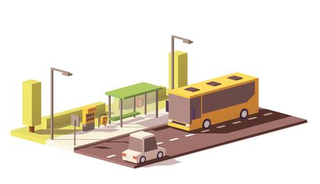 Illustration pour Vector low poly bus and the bus stop - image libre de droit