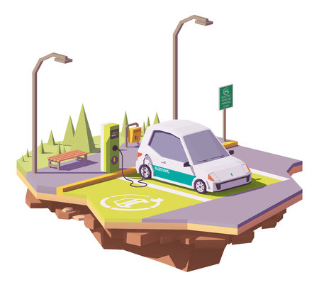 Ilustración de Vector low poly electric car and electric vehicle charging station - Imagen libre de derechos
