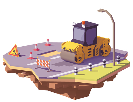 Photo for Vector low poly road roller - Royalty Free Image