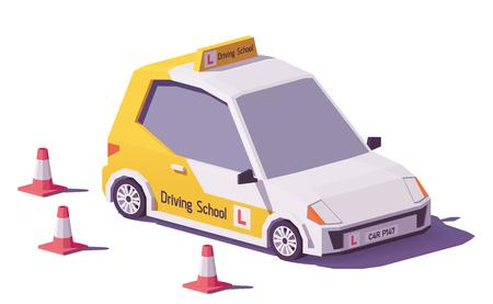 Illustration pour Low poly driving school car vector icon. - image libre de droit