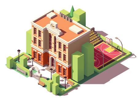 Illustration for Vector isometric small school building with schoolyard and basketball court - Royalty Free Image