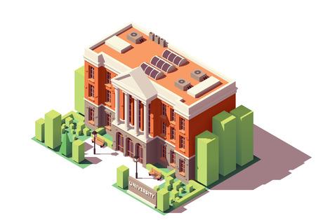 Ilustración de Vector isometric old university or college building - Imagen libre de derechos
