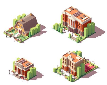 Illustration pour Vector isometric educational buildings set. Includes school, preschool or kindergarten, university and library buildings - image libre de droit