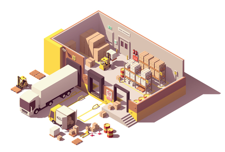 Ilustración de Vector isometric low poly warehouse building cross-section - Imagen libre de derechos