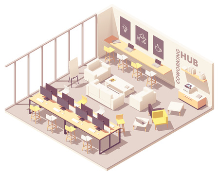 Illustration pour Vector isometric modern coworking open space interior plan with workplaces, desks, computers, printer, workbench, sofa and other furniture - image libre de droit