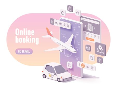 Ilustración de Vector online travel planning illustration, hotel booking or buying airline tickets, rental car reservation, trip planner app concept. Smartphone, airplane, car for hire - Imagen libre de derechos