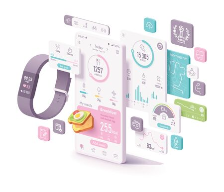 Illustration pour Vector fitness and diet app concept. Fitness tracker and smartphone with application screens to track physical activity, sport activities, calories calculator and food diary, heart rate, steps counter, weight control - image libre de droit