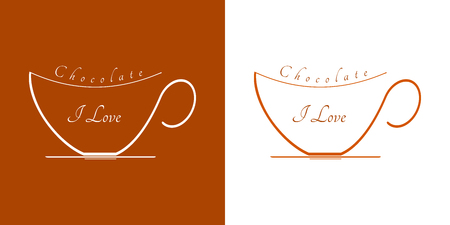 Illustration pour Two cups of hot chocolate. Graphics on white and brown background and text: I love chocolate. - image libre de droit
