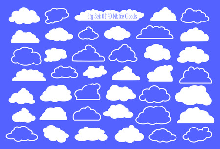 White clouds and outlined clouds vector clipart, wedding or nursery