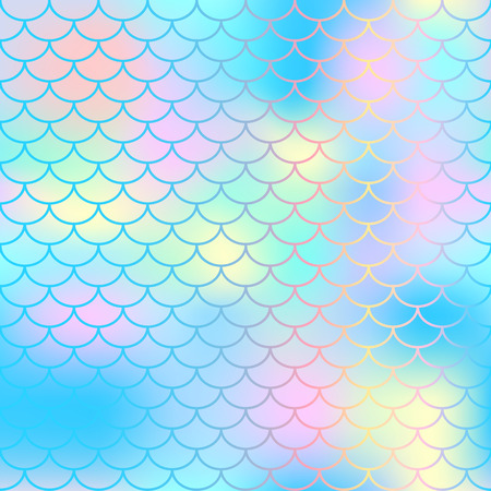 Ilustración de Fish scale texture vector pattern. Magic mermaid tail background. Colorful seamless pattern with fish scale net. Blue pink mermaid skin surface. Mermaid seamless pattern swatch. Nursery background - Imagen libre de derechos