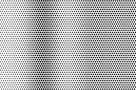 Illustration for Black on white distressed halftone vector texture. Digital optic illusion. Vertical dotwork gradient for vintage effect. Monochrome halftone overlay. Perforated retro background. Ink dot texture card - Royalty Free Image