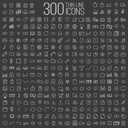 Illustration for 300 thin line universal icons set of finance, marketing, shopping, weather, internet, user interface, navigation, media,  on dark background - Royalty Free Image