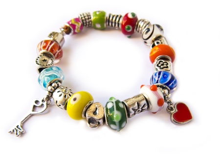 Beads and gems bracelet isolated in white