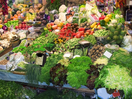 Some fresh fruits and vegetables in the market