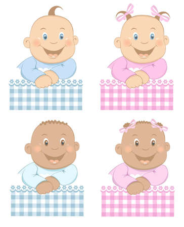 Photo pour Funny babies boy and girl with pattern in blue and pink colors Set 3 - image libre de droit