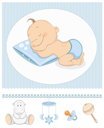 Illustration for Sleeping boy arrival announcement. Photo frame with baby toys - Royalty Free Image