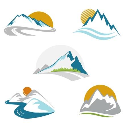 Illustration pour Blue mountains emblem set - image libre de droit