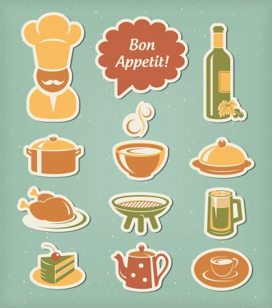 Restaurant menu icons set
