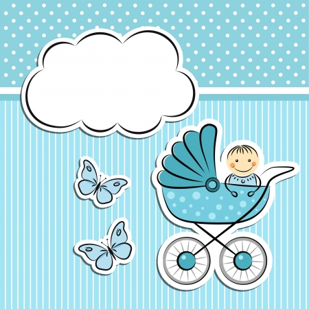 Illustration for Baby boy arrival announcement - Royalty Free Image
