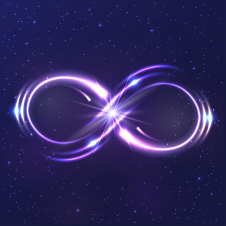 Ilustración de Neon light infinity symbol - Imagen libre de derechos