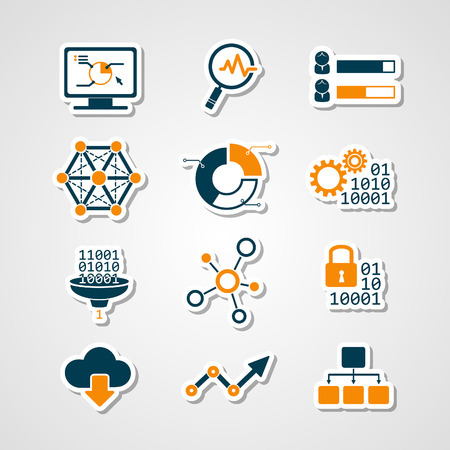 Data analytic icons paper cut set