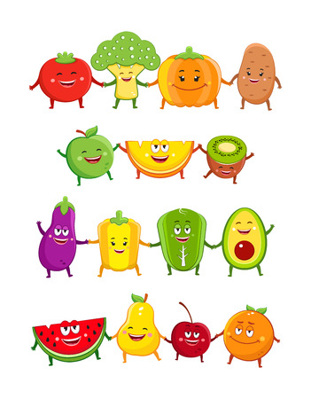 Foto für Funny fruits and vegetables characters cartoon illustration - Lizenzfreies Bild