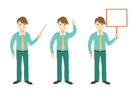 Successful young businessman characters set illustration.
