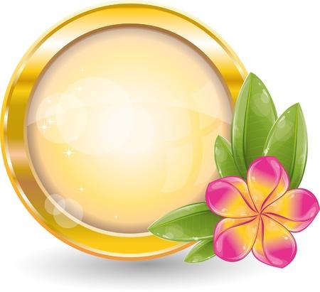 Illustration pour Gold circle frame with pink frangipani flower, vector illustration, eps-10 - image libre de droit