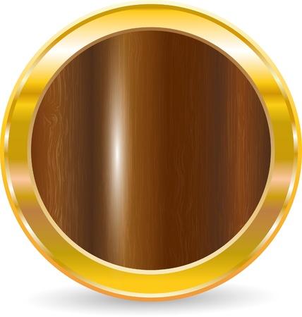 Ilustración de Gold circle frame with wood texture, vector illustration - Imagen libre de derechos