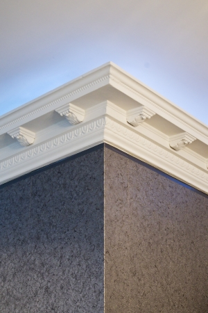 the stucco ceiling mounted in luxurious room