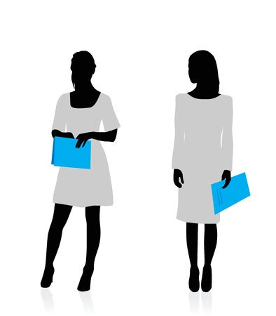Business woman silhouettes