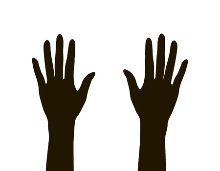 hands silhouette isolated on white background, vector illustration