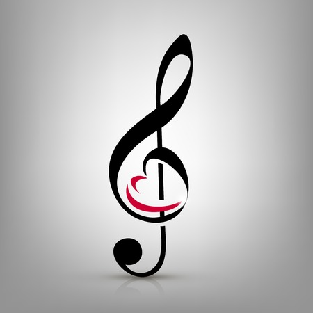treble clef with an illustration of a heart-shaped