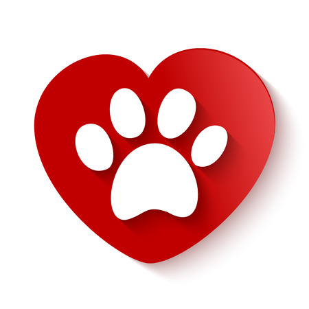 Illustration for paw print with shadow over heart shaped background - Royalty Free Image