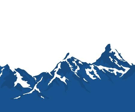 Illustration pour snow capped mountains isolated on white background - image libre de droit