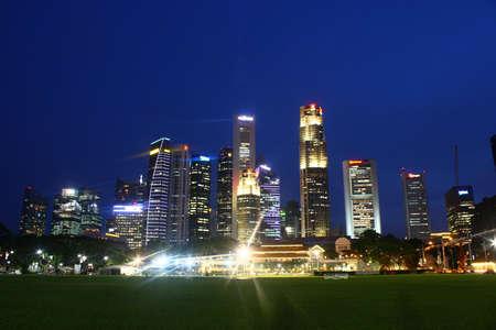Cityscape Singapore skyline, evening night blue hour, padang city hall
