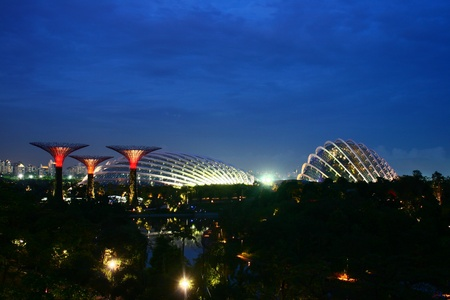 Garden by the Bay, Singapore Evening Cityscape, special blue hour