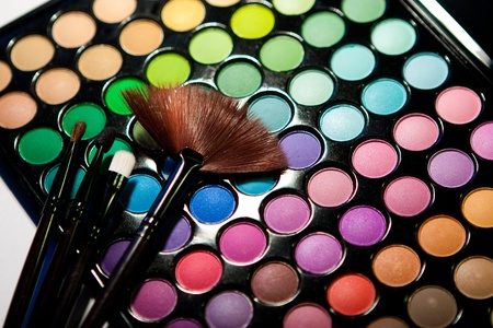 Makeup set. Professional multicolor eyeshadow palette の写真素材