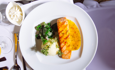 Grilled Salmon Steak with Spinach,Mash potato and souse