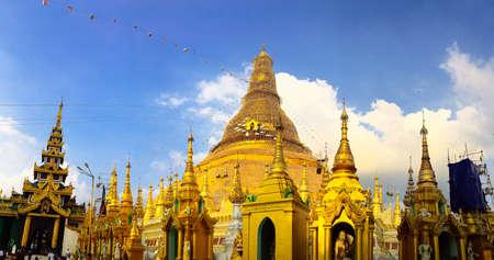 Foto für Yangon, Myanmar JANUARY 10. 2019. View of Shwedagon Pagoda at the sunset - Lizenzfreies Bild