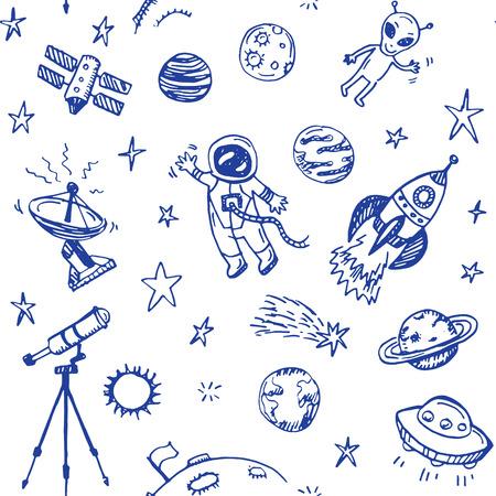 Illustration pour Hand drawn space doodle seamless background - image libre de droit