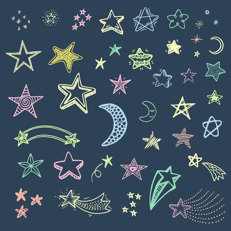 Hand drawn doodle stars set