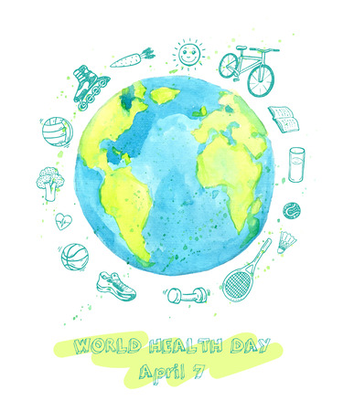a3d0734335f2 World Health Day illustration with watercolor Earth and hand drawn ...