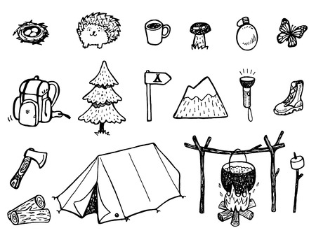 Camping Doodles: Royalty-free vector graphics