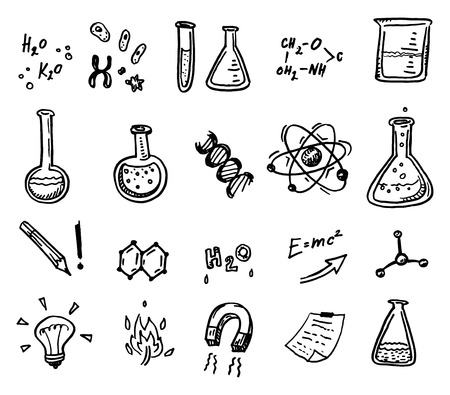 Hand drawn chemistry and science icons set.