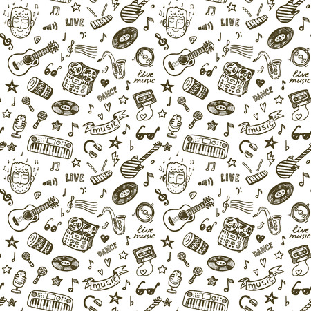 Hand drawn music seamless backround pattern